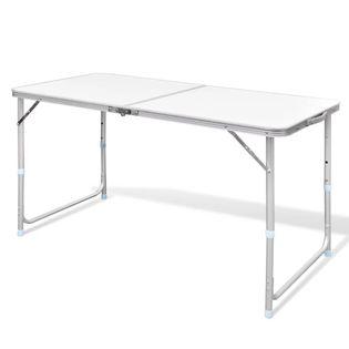 Składany, Aluminiowy Stół Kempingowy Z Regulacją Wysokości 120 X 60 Cm