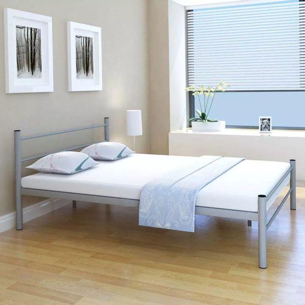 łóżko Rama łóżka Z Materacem 140x200cm Szare Do Sypialni