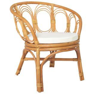 Lumarko Krzesło stołowe z poduszką, jasnobrązowy naturalny rattan i len!