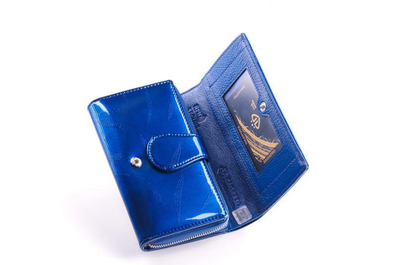 Mały portfel skórzany damski Zagatto granatowy liście RFID ZG-113 Leaf zdjęcie 3