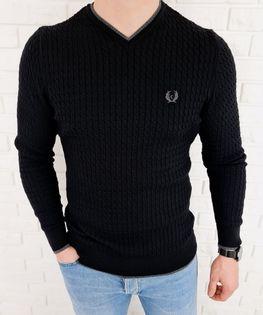 Czarny sweter męski w serek znaczek 402 - L