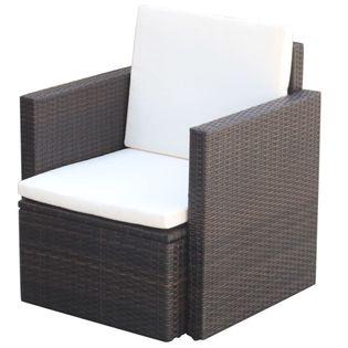 Lumarko Krzesło ogrodowe z poduszkami, polirattan, brązowe!