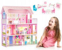 Duży drewniany domek dla lalek + meble ECOTOYS
