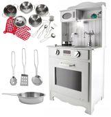 Kuchnia Drewniana Dla Dzieci z Oświetleniem + metalowe garnki U31G zdjęcie 11