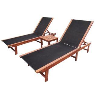 Leżaki ze stolikiem 2 szt. lite drewno akacjowe i textilene