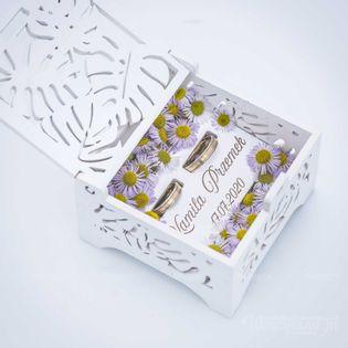 Białe pudełko z Grawerem - wzór Monstera