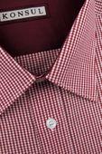Koszula Męska Konsul czerwona w kratkę na krótki rękaw K588 L 41 176/182 zdjęcie 3