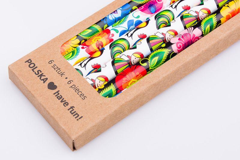 Komplet 6 ołówków z wzorami łowickimi zdjęcie 3