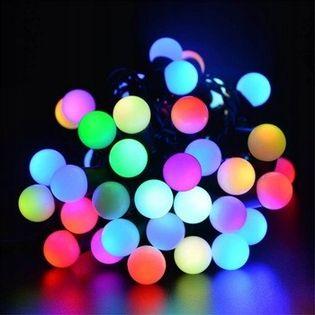 Lampki choinkowe kulki 100 LED 11m RGB+czapka