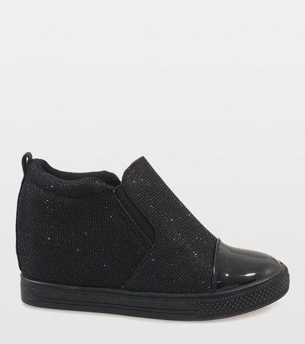 Czarne sneakersy na koturnie DD410 1 41