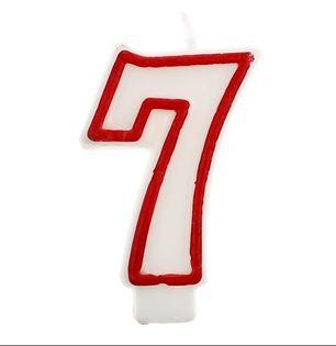 Świeczka na tort cyferka 7 lub 1,2,3,4,5,6,8,9,0