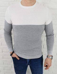 Szaro-bialy sweter męski 3532 - XXL