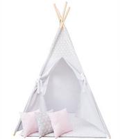 Namiot dla dzieci TIPI, domek, teepee, 3 poduszki - szary/gwiazdki