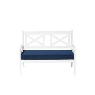 Ławka ogrodowa 120 cm drewniana biała z poduszką niebieską BALTIC
