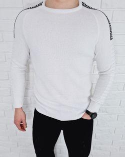 Biały sweter męski pleciony ze wzorem 3521 - L