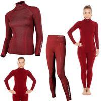 Bielizna termoaktywna BRUBECK EXTREME WOOL komplet DAMSKI koszulka+spodnie bordowy S (LS11920+LE11130)
