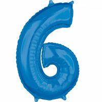 Balon foliowy cyfra 6 Niebieska 66 cm
