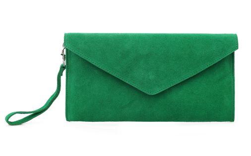TOREBKA zamszowa kopertówka listonoszka z paskiem V245 zielona