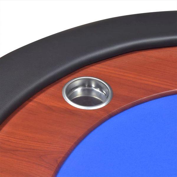 Stół do pokera dla 10 graczy z tacą na żetony, niebieski zdjęcie 8