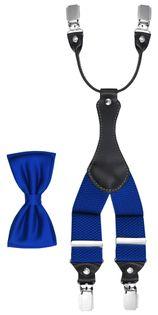 Niebieski  zestaw - szelki do spodni i mucha męska Z29