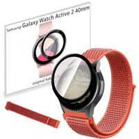 Pasek nylonowy opaska i szkło 3D do Samsung Galaxy Watch Active 2 40mm Nectarine