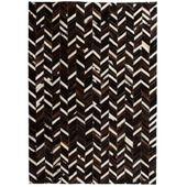 Dywan ze skóry, patchwork jodełkę, 120 x 170 cm, czarno-biały