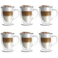 Szklanki termiczne z Podwójną Ścianką do Herbaty Kawy Amo 250ml 6szt.