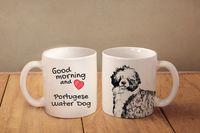 """Portugalski pies dowodny - kubek z wizerunkiem psa i napisem """"Good morning and love..."""". Wysokiej jakości kubek ceramiczny."""