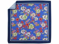 Granatowa/niebieska poszetka w kwiaty E267