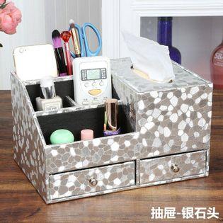 Skórzany  Organizer Kosmetyczny - Na Biżuterię Z Szufladami silver stone M