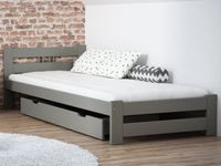 Łóżko wysoki zagłówek ESM2 90x200 szare + stelaż