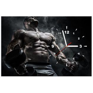 ZEGAR  Mężczyzna na siłowni w stalowym kolorze 60x40
