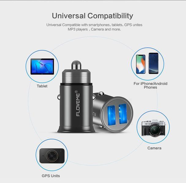 Ładowarka samochodowa 2x USB 4.8A Aluminiowa Floveme zdjęcie 3