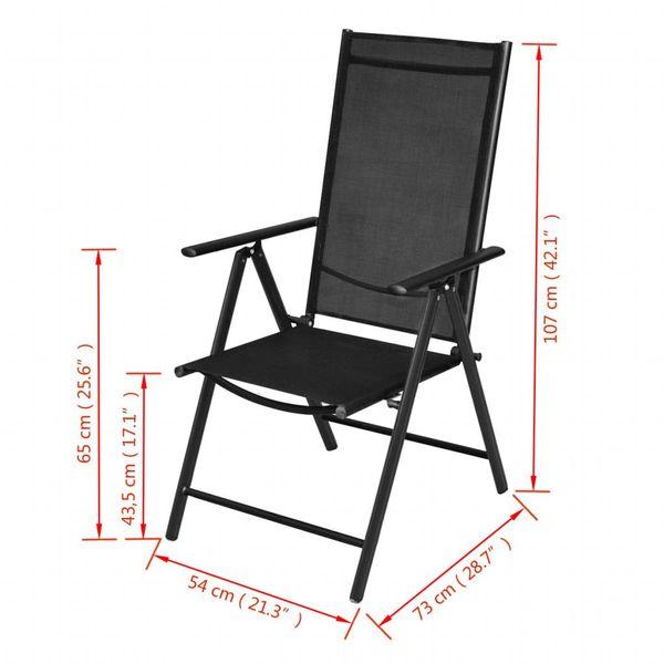 Składane Aluminiowe Krzesła Ogrodowe 2 Szt Czarne