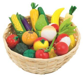 Drewniane owoce i warzywa w koszyku 21szt.