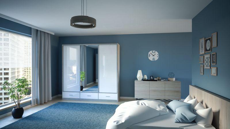 szafa przesuwna 250cm biała garderoba lustro połysk półki szuflady zdjęcie 1
