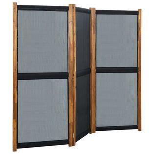 Parawan 3-panelowy czarny 210x170cm VidaXL