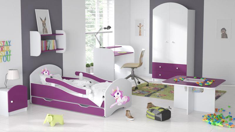 Łóżko dziecięce łóżeczko 140x70 biały / fiolet szuflada materac zdjęcie 6