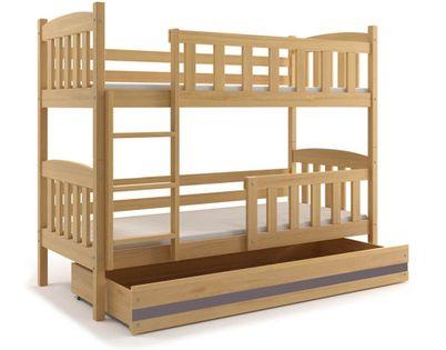 Łóżko Kubuś dla dzieci piętrowe dziecięce 200x90 + SZUFLADA + BARIERKA