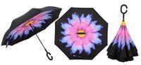 """Parasol odwrócony """"Revers"""" - różowo-niebieski kwiat"""