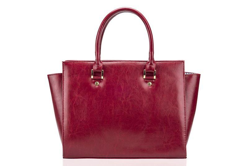 3f0b988ffd54c Skórzana torebka damska kuferek do ręki Felice Gold Gatto malinowa zdjęcie 3