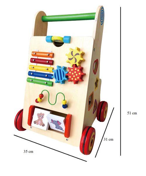 Drewniany chodzik jeździk pchacz wózek LX008 zdjęcie 3