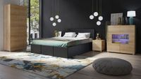 Sypialnia CALABRINI 19C - białe łóżko CALABRINI - E - dąb złoty / dąb złoty, CALABRINI - łóżko - Czarna ekoskóra