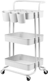 Wózek kuchenny łazienkowy regał na kółkach biały