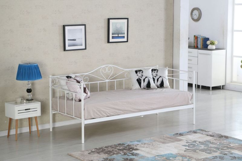 łóżko 90x200 Metalowe Ze Stelażem Kute Białe