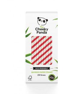 Jednorazowe słomki do napojów z papieru bambusowego CZERWONE PASKI 250 szt. The Cheeky Panda