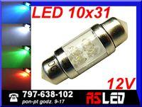 żarówka 4 LED rurkowa 10x31 mm c5w wnętrza 31 mm 12v KOLORY