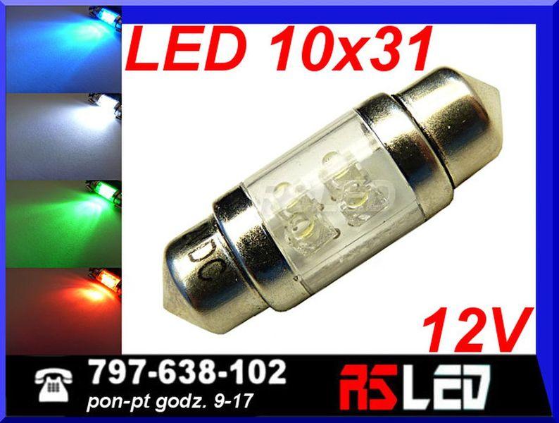 żarówka 4 LED rurkowa 10x31 mm c5w wnętrza 31 mm 12v KOLORY na Arena.pl