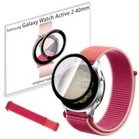 Pasek nylonowy opaska i szkło 3D do Samsung Galaxy Watch Active 2 40mm Pome Red