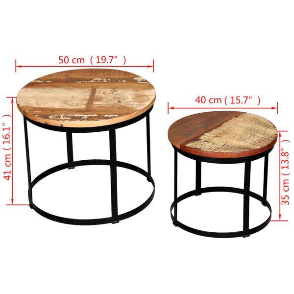 Dwa Stoliki Do Kawy Z Odzyskanego Drewna Okrągłe 40 I 50 Cm